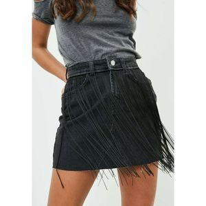 Missguided Black Denim Fringe Skirt